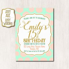 15th Birthday invitation Peach Mint and Gold by CoolStudio on Etsy