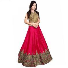 9e2d8a57e5d Meenaxi Pink Lehenga With Dhupiyan Top   Benglori Silk Bottom