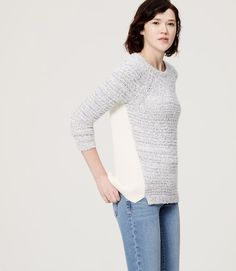 Primary Image of Blocked Mixed Stitch Tunic Sweater