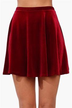 Velvet Skater Skirt in Wine
