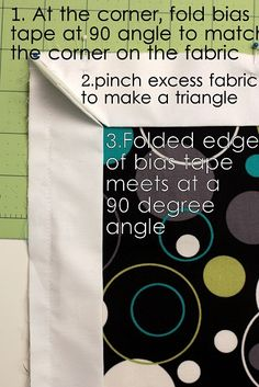 sewing bias tape around a corner