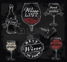vector krijt wijn ingesteld op schoolbord achtergrond Stockfoto