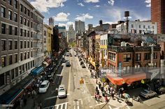 Stock Photo : Bird's eye view of a crossroad in Chinatown, NYC