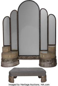 art deco furniture Art Deco Silvered Wood Wall Mounted Vanity and Stool. Art Deco Stil, Art Deco Decor, Art Deco Design, Decoration, Art Deco Furniture, Furniture Styles, Antique Furniture, Furniture Dolly, French Furniture