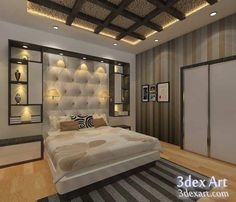 New modern false ceiling designs 2019 for bedroom with LED lights and how to make stylish bedroom false ceiling design, suspended ceiling and stretch ceiling with different materials, the best false ceiling designs and ideas for bedroom 2019 Ceiling Design Living Room, Bedroom False Ceiling Design, Luxury Bedroom Design, Bedroom Bed Design, Modern Master Bedroom, Bedroom Furniture Design, Bedroom Ceiling, Bedroom Ideas, Stylish Bedroom