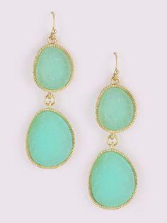mint drop earrings.