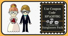 No gifts can match the charm of these customized sunglasses that bear the name of the bride or the groom. Let these stylish wedding favors keep alive those special moments in the minds of your friends and family for many more years! :) Use coupon code 10%OFFBG #bridalparty #sunglasses