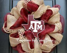 Texas A&M Aggie Wreath - Mesh and Burlap Wreath