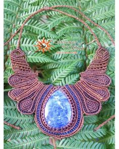 Sodalite Inca Empress Shield Macrame Necklace