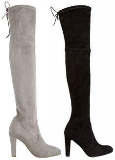 "Jessica Buurman ""Arabel"" Lace Up Over The Knee Boots in grey and black suede, $169 (Stuart Weitzman Highland dupes)"
