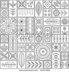 Folk Embroidery Patterns Scandinavian design tiles with floral abstractions. Patterns and ornaments with Scandinavian motifs within the rectangular frames. Folk Embroidery, Embroidery Patterns Free, Zentangle Patterns, Quilt Patterns, Embroidery Designs, Zentangles, Abstract Embroidery, Blackwork Embroidery, Simple Embroidery
