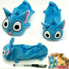 Japa anime Cute Blue Happy Fairy Tail Plush Make Up Blue Bag Pencil Case Stationery bag