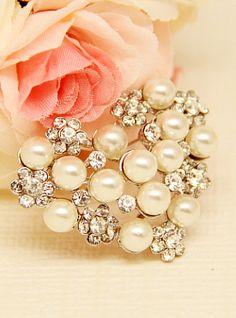 Broche plateado diamante perlas 7.08