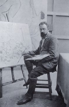 Henry Matissein his studio at Issy-Les-Mouineaux, 1909