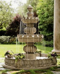 Three-Tier Castle Fountain traditional outdoor fountains
