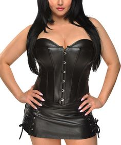 This Black Faux Leather Corset & Skirt - Women & Plus is perfect! #zulilyfinds