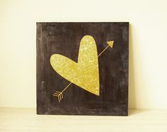 Wooden art block 8x8 collage wall decor decoupage mixed media home decor modern vintage look bedroom decor gold heart arrow on a black board by BannerDesignShop on Etsy