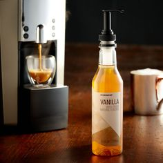 A sampler-size bottle of deliciously sweet vanilla syrup to flavor your coffee or latte at home or the office.