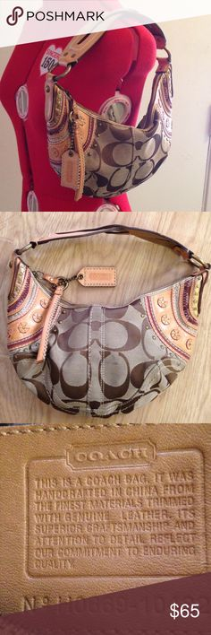 Rare Coach Stitched Soho Hobo Shoulder Bag Coach Hobo Shoulder Bag  - Rare Style  Mixed Signature and leather with cool decorative trim and studs Large Hangtag and tassel like zipper pull. Twisted stitch shoulder strap  measured at center : 12 inches across X 7 inches high. 10 inch strap can go over shoulder or be carried by hand. Lovely and awesome bag  Leather and decoration are in excellent and barely used condition Coach Bags Hobos