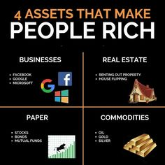 Investing For Beginners Discover 4 assets that make people rich New Business Ideas, Business Money, Start Up Business, Dubai Business, Online Business, Financial Quotes, Financial Tips, Financial Literacy, Business Motivation