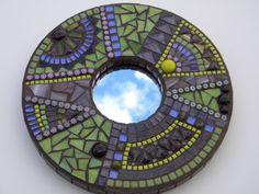 Purple Electric Lime Round Mosaic Mirror  by TheMosartStudio, $155.00