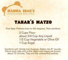 Passover / Feast of Unleavened Bread Recipe: Tahar's Matzo
