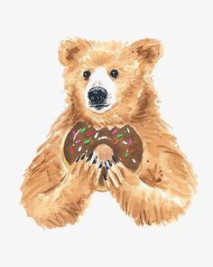 Title: Bears Love Donuts Sure, bears enjoy a fresh piece of fish for dinner but what they really look forward to is the donut for dessert. Bear Watercolor, Watercolor Animals, Watercolor Paintings, Donut Cartoon, Bear Cartoon, Bear Illustration, Watercolor Illustration, Donut Drawing, Art D'ours