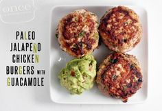 Jalapeno Chicken Burgers with Guacamole - Freeze.Paleo Jalapeno Chicken Burgers with Guacamole - Freeze. Whole Foods, Paleo Whole 30, Whole 30 Meals, Whole Food Recipes, Cooking Recipes, Healthy Recipes, Whole30 Recipes, Paleo Meals, Freezer Cooking