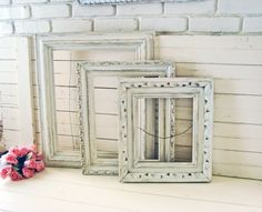 shabby chic antique white picture frames by willowsendcottage