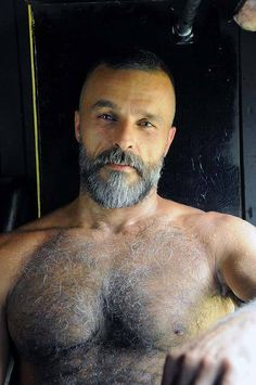 Hairy Muscle Daddy. Men. Beards. Going Grey.