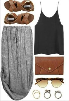 Summer Style: maxi dress, leather sandals, tank, leather clutch, sunglasses, jewelry