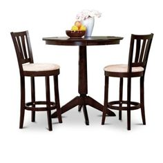 The Furniture Cove Espresso Counter Height Dining Bar Table and 2 Bar Stools Set Dining Room Furniture Sets, Dining Room Table, Furniture Decor, Kitchen Dining, Dining Stools, Counter Height Dining Table, Bar Stools, Small Kitchen Table Sets, Table And Chair Sets