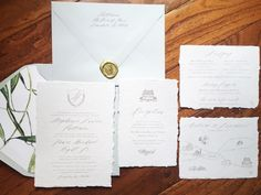 Handmade paper, deckled edge, wax seal from Silk & Willow