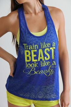 Train Like a BEAST Look Like a BEAUTY in Sapphire: text on shirt shows up when you sweat...it's hypercolor all over again!