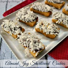 These coconut-chocolate-almond-toppedshortbread cookiesare reminiscent ofAlmond Joycandy bars.These bars are actually easy to put together and will disappear even quicker. My kids couldn't get enough of these and kept begging for more.
