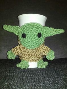Yoda crochet coffee cup cozy