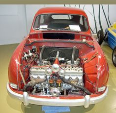 SAAB 'The Monster'...Yep that two complete standard 3 cylinder engines end on end. The result was 138HP and 122 MPH, quite a lot for any car in 1959!
