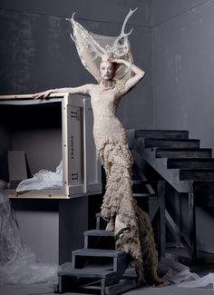 Steven Meisel for Vogue, McQueen dress #fashion #photography #vogue
