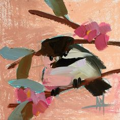Chickadee no. 908 Original Bird Oil Painting by Angela Moulton 6 x 6 inch on Panel pre-order by prattcreekart on Etsy