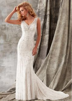 Luxurious Tulle V-neck Neckline Mermaid Wedding Dress With Beaded Embroidery