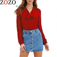 New Summer Autumn Women Fashion Casual Blouses Shirts Full Sleeve Bow Solid V-Neck Blouse $19.96