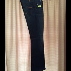 """7 for all mankind FINAL PRICE Kimmie boot cut jeans, dark on back from thigh down, dark on front from knee down, five pocket jeans style, measures are starting on Waist 15 1/5"""", Rise 8"""", Hip 18"""", Thigh 9"""", Inseam 31 1/2"""", Cuff 9"""" 7 for all Mankind Jeans"""