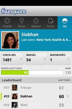 Foursquare profile --> https://market.android.com/details?id=com.joelapenna.foursquared=related_apps