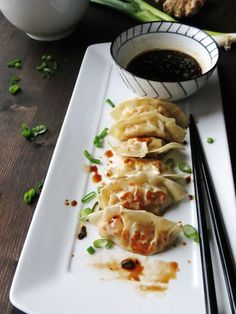 Homemade Gyoza and the Best Dipping Sauce in the World-So much better than in the gyoza you get in the restaurant. This gyoza recipe is our favorite and the dipping sauce is good enough to drink! Dumpling Sauce, Pan Fried Dumplings, Dumpling Recipe, Dumpling Wrappers, Sauce Recipes, Cooking Recipes, Gyoza Sauce Recipe, Soy Sauce, Cooking Tips