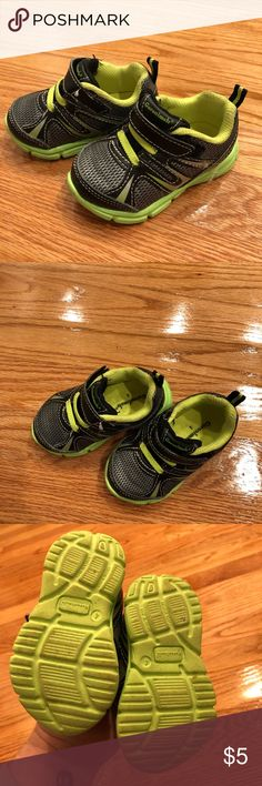 Baby Boy Black & Neon Green Sneakers / Size: 4 Gently used sneakers in great condition. Just outgrew quickly! Garanimals Shoes Sneakers