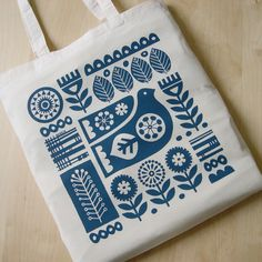 Hand Screen Printed, Scandinavian Bird, Leaf, Flower, Folk Art, Tote Bag, Cotton