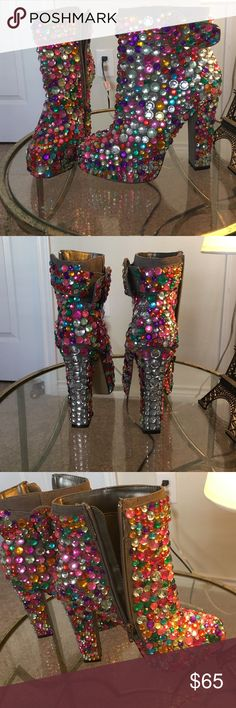 Embellished booties, Bakers, chunky heel Rhinestone Embellished booties, Bakers, chunky heel Bakers Shoes Ankle Boots & Booties