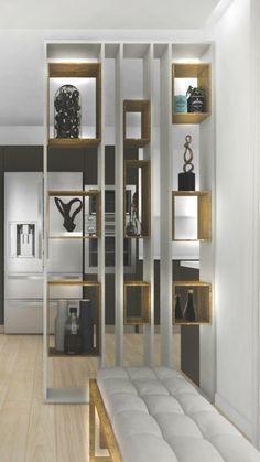 Living Room Partition Design, Living Room Divider, Room Partition Designs, Home Living Room, Living Room Decor, Smart Home Design, Home Room Design, Home Office Design, Living Room Designs