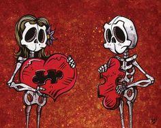 Day of the Dead Artist David Lozeau, We Just Fit, Dia de los Muertos, Sugar Skull