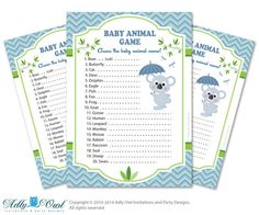 Boy Koala Baby Animal Game guess Animals by adlyowlpartyprints, $5.00